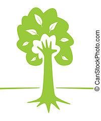 arbre, -, main, environnement, conception, créatif