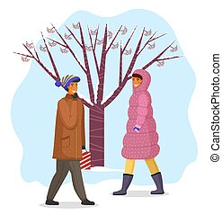 arbre, marche, neigeux, temps chaud, baies, hiver, femme, manteau rouge, extérieur, homme, froid