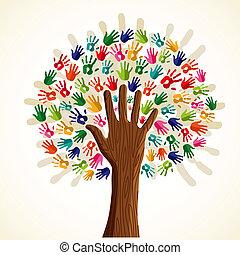 arbre, multi-ethnique, coloré