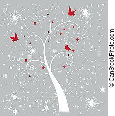 arbre, neige, oiseaux