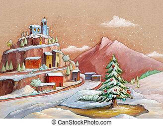 arbre, neigeux, noël, paysage