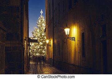 arbre, noël, contre, étroit, vieille ville, rue, éclairé