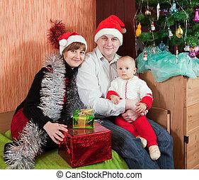 arbre, noël famille, maison