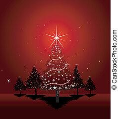 arbre, noël, fond, rouges