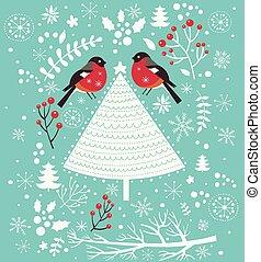 arbre, noël, oiseaux