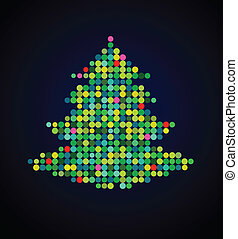 arbre noël, pixel, fond, noël