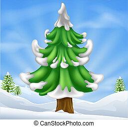 arbre, noël scène