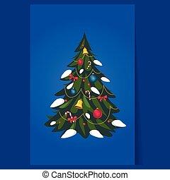 arbre, noël, vecteur, décoré