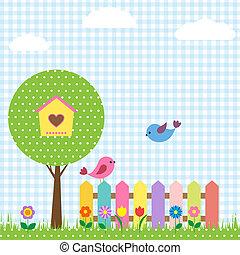 arbre, oiseaux, birdhouse
