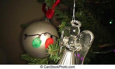 arbre, ornement, ampoule, noël, ange, main-peint