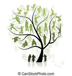 arbre, parents, famille