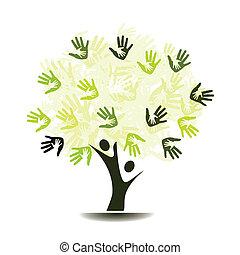 arbre, paumes