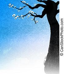 arbre, peinture, chinois