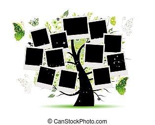 arbre, photo, ton, conception, famille, cadres