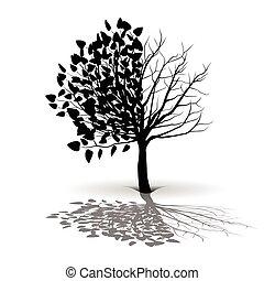 arbre, plante, silhouette