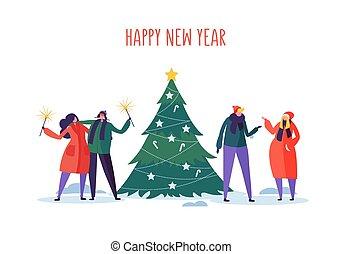 arbre., plat, city., hiver, gens, illustration, fetes, célébrer, vecteur, caractères, année, fête, nouveau, noël, noël