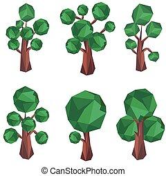 arbre, polygone, agrafe, art.