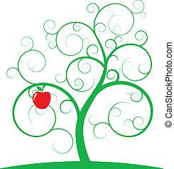 arbre, pomme, spirale