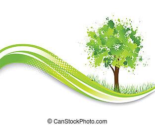 arbre, résumé, arrière-plan vert