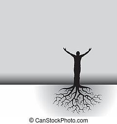 arbre, racines, homme