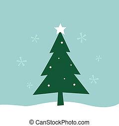 arbre, retro, joyeux, hiver, noël