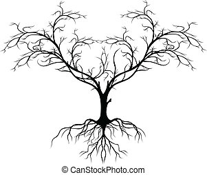 arbre, sans, silhouette, feuille