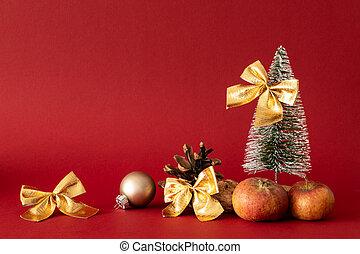 arbre sapin, décoration, fond, noël, rouges