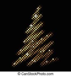 arbre sapin, disco, vecteur, noël, mosaïque