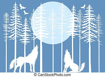 arbre sapin, hurlement, forêt, vecteur, loup
