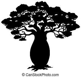 arbre, silhouette, africaine