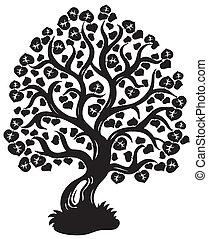 arbre, silhouette, chaux
