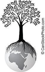 arbre, silhouette, la terre