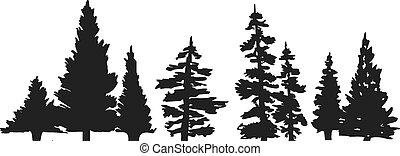 arbre, silhouette, pin