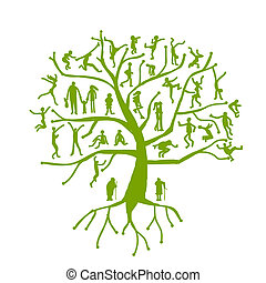 arbre, silhouettes, parents, famille, gens