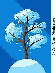 arbre, snow., tomber, hiver
