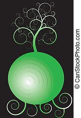 arbre, sur, sphère verte