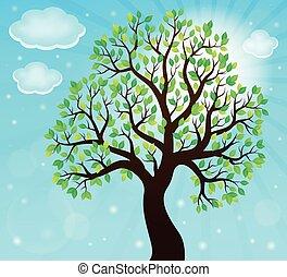 arbre, thème, 2, silhouette, feuillu
