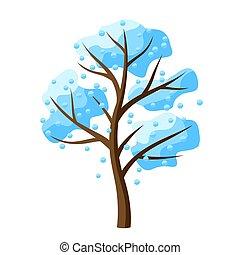 arbre, tomber, snow., hiver