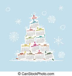 arbre, ton, calendrier, 2013, conception