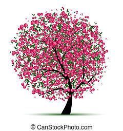 arbre, ton, cerise, conception, énergie