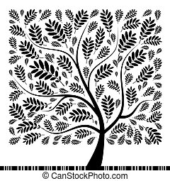arbre, ton, rowan, art, conception, beau