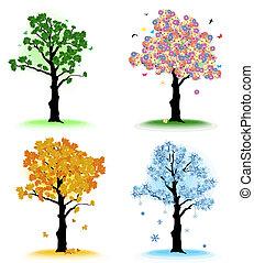 arbre, ton, saisons, art, quatre, design.