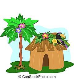 arbre tropical, paume, toucan, hutte