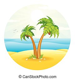 arbre tropical, paume, vecteur, island.