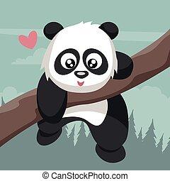 arbre, valentin, tendre, escalade, branche, ours, panda