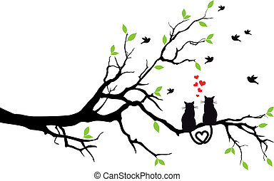 arbre, vecteur, amour, chats