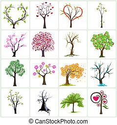 arbre, vecteur, conception, icônes