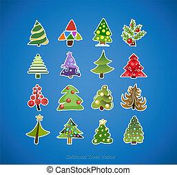 arbre, vecteur, conception, noël, icônes