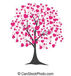 arbre, vecteur, hearts., illustration