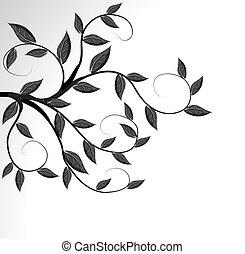 arbre, vecteur, silhouette, branche